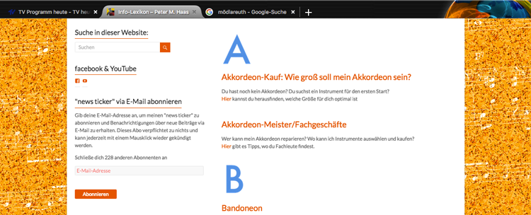 Akkordeon-Info-ABC auf meiner website